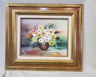 Oil Painting of Bouquet Signed by R.Payne