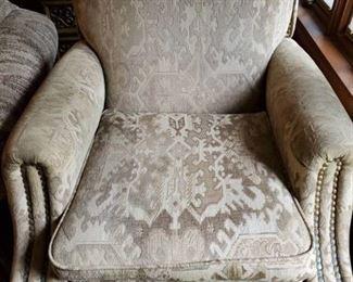 Barcalounger Beige Self Reclining Chair with Brass Buttons and Wooden Feet