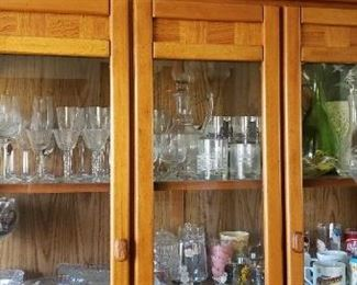 Dining hutch with serving pieces