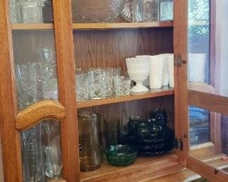 Dining hutch with glassware