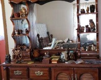 Bedroom dresser with owl display