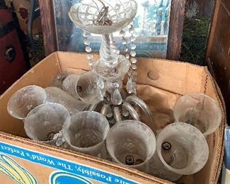 Glass chandelier. Antique