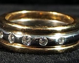 14K Yellow And White Gold Diamond Row Band Ladies Ring, Size 5-1/4, 10.3 g Total Weight, Mark Not Evident