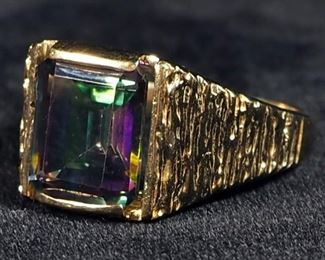 14K Gold Mystic Topaz Wide Band Ring, Size 9-1/4, 8.1 g Total Weight