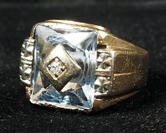 10K Gold Mens Diamond And Light Blue Glass Ring, Size 8-1/4, 8.20 Total Weight