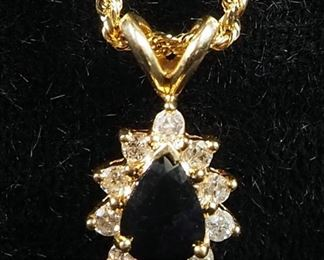 """10K Gold Necklace With 14K Gold Sapphire Diamond Cluster Pendant, 24"""" Long, 6.3 g Total Weight"""