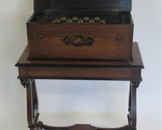 Antique Inlaid Music Box On Lyre Base Stand