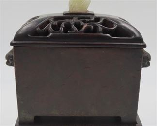 Chinese Bronze Censer with Carved Jade Finial