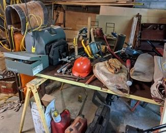 Tools! Miter box, mounted vise, work light, miscellaneous tools and accessories
