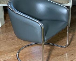 1 Club Tub Chrome & Vinyl  80's Chair Joan Burgasser/Anton Lorenz for Thonet