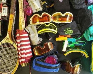 Rackets, goggles etc.