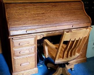 Antique oak desk & chair