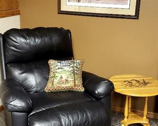 "Leather recliner & framed print by Moss ""Morning Mallards"""