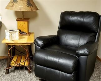 The other recliner, rustic end table etc.