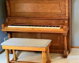 Upright piano & bench