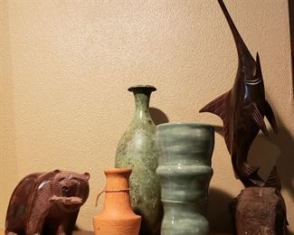 Carved wood bear & marlin and hand thrown vases