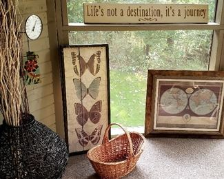 Large twig container, framed butterflies & map, sign & basket