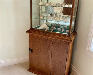 Bottom piece is an antique cubby cabinet / mail cabinet