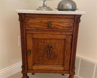 Early 1900's European Marble Top Nightstand
