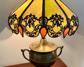 Bradley Hubbard Brass Lamp and Gorgeous Slag glass design