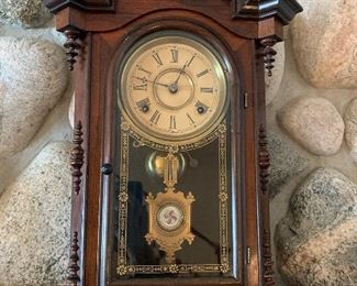 Eight Day Movement E.N. Welch, Lucca Mahogany Parlor Clock 1875