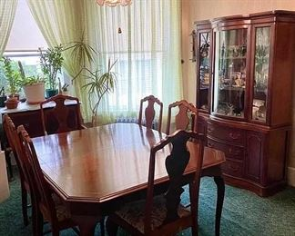 Vintage dining table and hutch