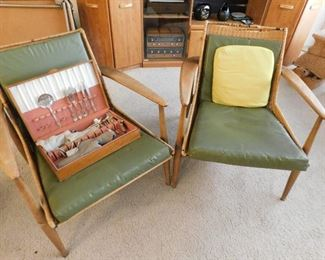 """Nemschoff Chair Pair, damage to top of woven wicker. """"peabody collection"""""""