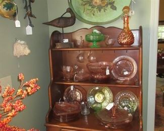 Hutch with Depression Glass