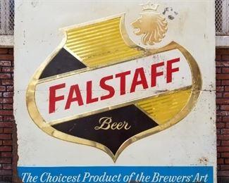 $650 Firm - 7' by 7' Huge Vintage Falstaff Metal Embossed Sign