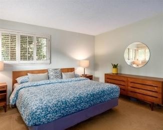 This is a staged photo of the Master Bedroom.  All The Furniture is Teak & Made in Demark