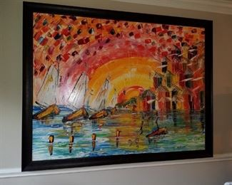 Large oil painting of ships and seaside village