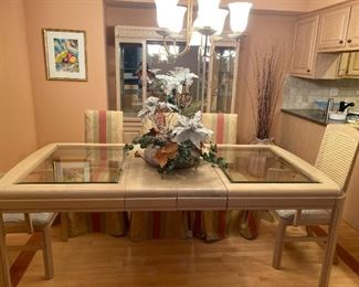 KELLER GLASS INSERT DINING TABLE - BUY IT NOW $200 - CANE BACK DINING ARM CHAIRS (2) BUY IT NOW $60 EACH - SIDE CHAIRS (4) BUY IT NOW $45 EACH - SEE KITCHEN TABLE PIC