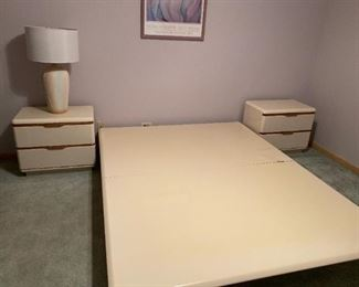 VINTAGE LANE QUEEN IVORY LAQUERED PLATFORM BED - BUY IT NOW $125 - VINTAGE LANE NIGHT STANDS - BUY IT NOW $150 EACH