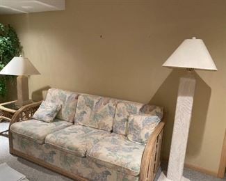 RATTAN COUCH - BUY IT NOW $200 - TALL FLOOR LAMP - BUY IT NOW $120 - MATCHING TABLE LAMP - BUY IT NOW $75