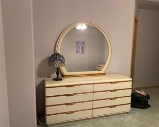VINTAGE LANE IVORY LAQUERED DOUBLE DRESSER WITH MIRROR - BUY IT NOW $400 - MATCHING TALL DRESSER ALSO AVAILABLE - BUY IT NOW $325