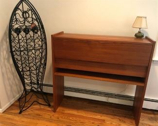 Mid Century Modern Bar, Iron Fish Wine Rack