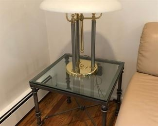 Iron & Glass Side Tables (Pair), Lamp