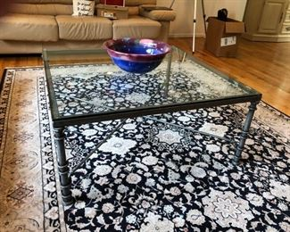Iron & Glass Coffee Table, Karastan Carpet