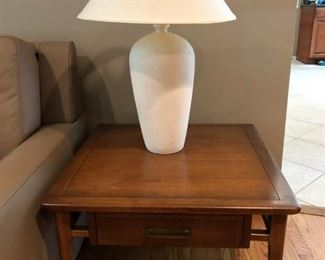 Mid Century Modern Lane Side Table, Lamp