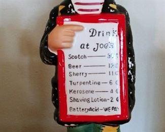 "Vintage Musical Liquor Decanter ""Drink at Joe's"""