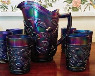 Imperial Carnival Glass Cobalt Blue Pitcher Set.
