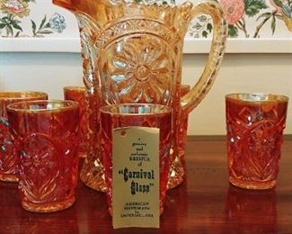Imperial Marigold Carnival Glass Pitcher Set
