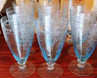 Fostoria Glass Versailles Etched Fairfax Blue Glasses