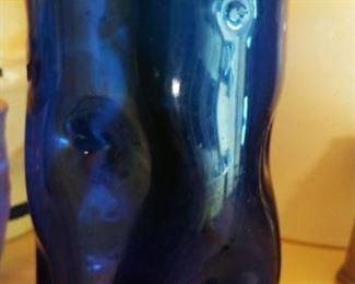 Vintage Blenko Cobalt Blue Dimple Glasses small and Large