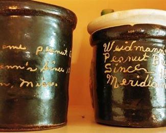 Antique Weidmans Peanut Butter Crocks. Meridian MS.
