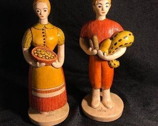 Sylvia Hood Original Vintage Harvest Couple Chalkware Figurines Circa 1960-1965