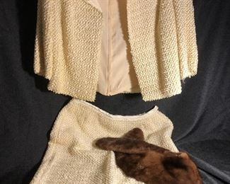 Vintage Matching Jacket Skirt, Jackie O Style w/ Removable Fur Collar