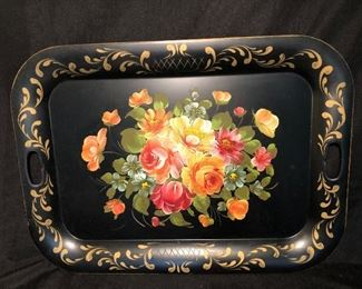 """VINTAGE LARGE NASHCO STYLE 27"""" TOLEWARE TRAY HAND PAINTED METAL SERVING TRAY"""