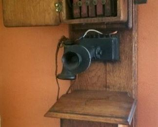 Old wall phone, all complete