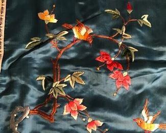 oriental silk pillow cover detail